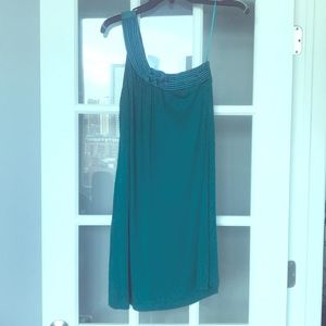 Akiko teal one shoulder dress